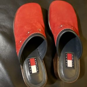 Womens Tommy Hilfiger red clog shoes